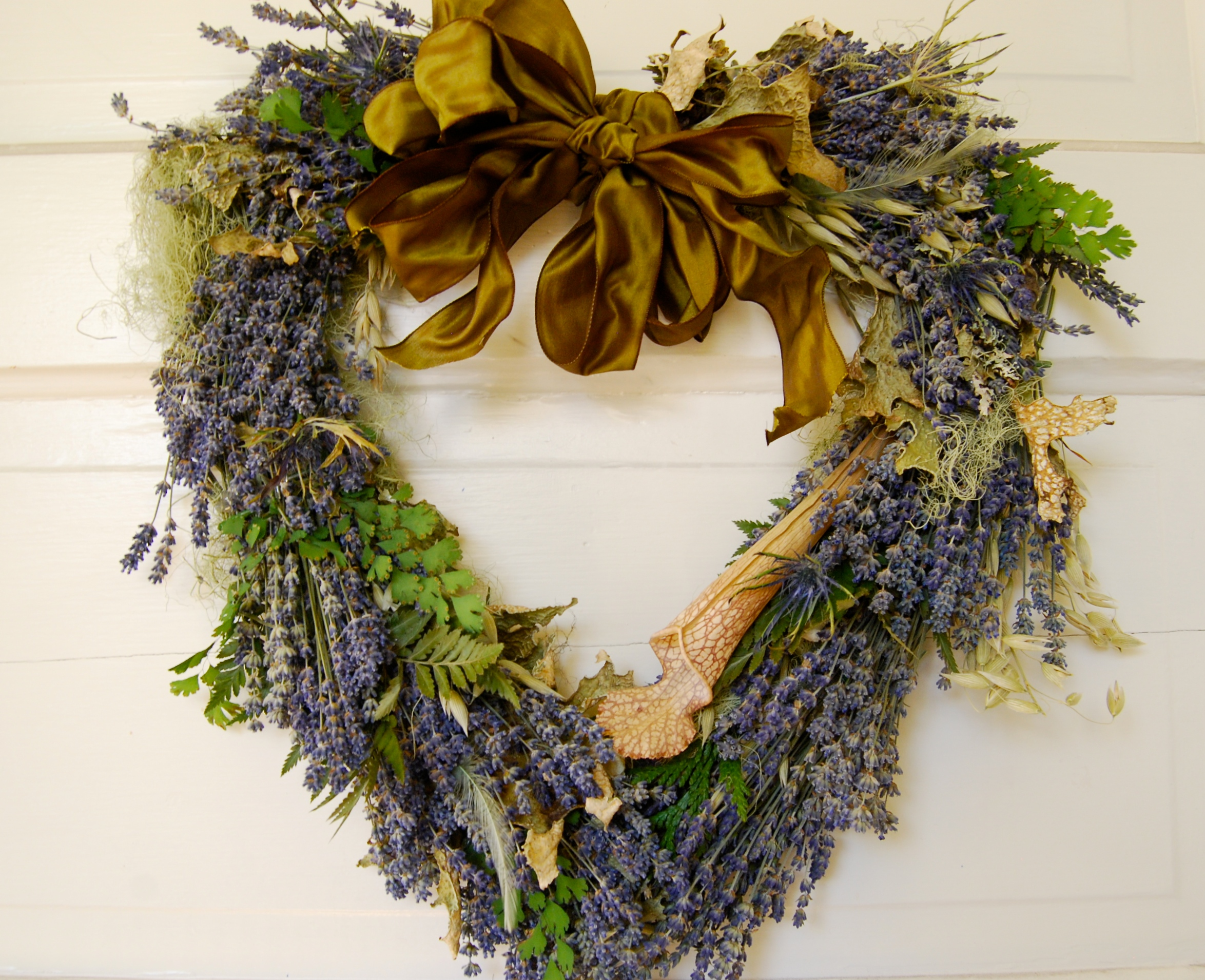 Rustic Heart Shaped Lavender, Fern and Lichens Wreath